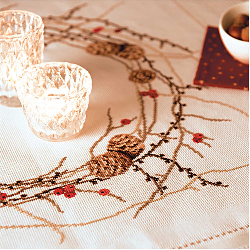 Rico Design Larch Wreath Tablecloth Cross Stitch Kit - WOOLS OF NATIONS