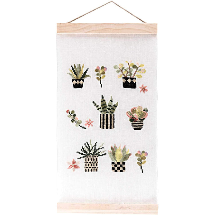 Rico Design Succulents Wall Hanging Cross Stitch Kit - WOOLS OF NATIONS