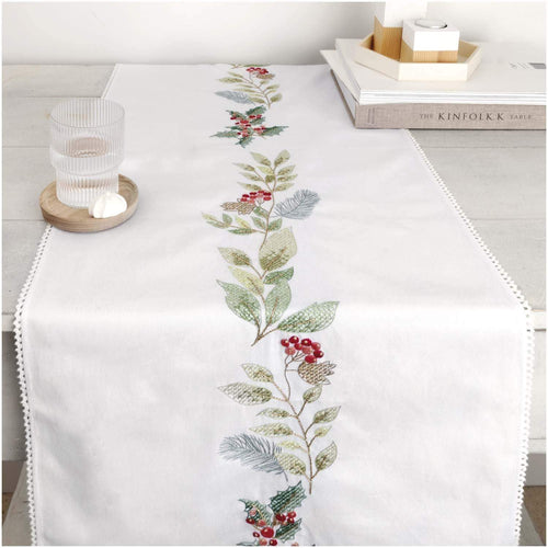 Rico Design Xmas Berry Wreath Table Runner Embroidery Kit - WOOLS OF NATIONS