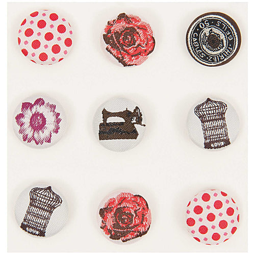 Rico Design Vintage Fabric Buttons Set (9pcs) - WOOLS OF NATIONS