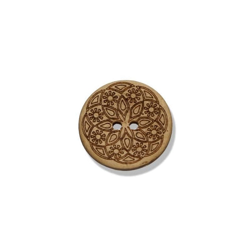 Coconut Button With Flowery Motif 20-25-34 mm - WOOLS OF NATIONS
