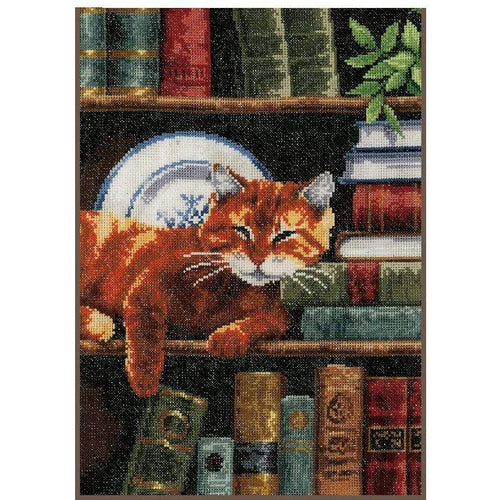 Vervaco - A Cat On The Bookshelf Cross Stitch Kit - WOOLS OF NATIONS