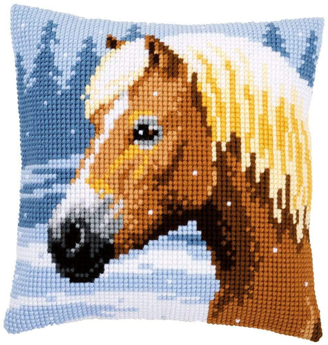 Vervaco - A Horse In The Snow Cushion Cross Stitch Kit - WOOLS OF NATIONS