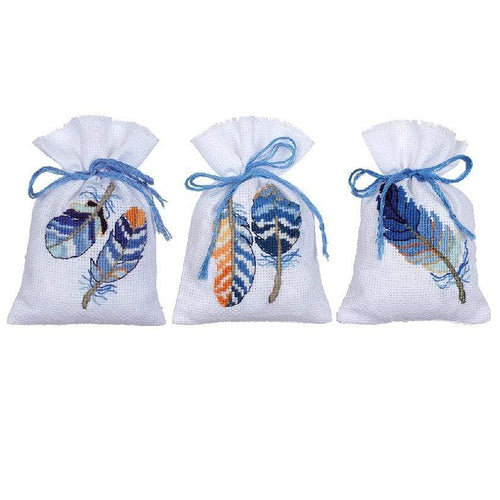Vervaco - Blue Feathers Bags For Herbs Cross Stitch Kit (Set of 3) - WOOLS OF NATIONS