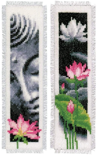 Vervaco - Bookmark Buddha & Lotus Cross Stitch Kit (Set of 2) - WOOLS OF NATIONS