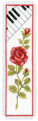 Vervaco - Bookmark Rose With Piano Cross Stitch Kit - WOOLS OF NATIONS