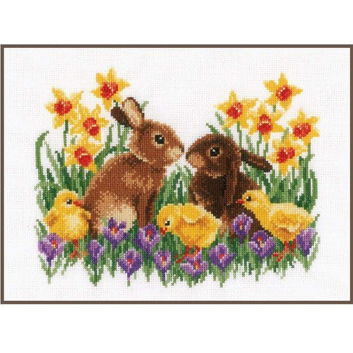 Vervaco - Bunnies With Chicks Cross Stitch Kit - WOOLS OF NATIONS