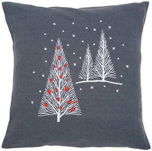 Load image into Gallery viewer, Vervaco Christmas Trees Cushion Embroidery Kit - WOOLS OF NATIONS