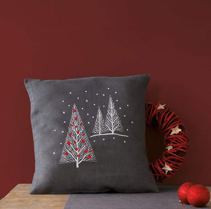 Vervaco Christmas Trees Cushion Embroidery Kit - WOOLS OF NATIONS