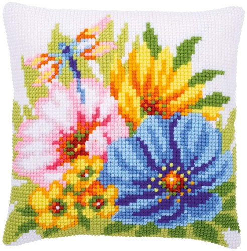 Vervaco - Colourful Flowers Cushion Cross Stitch Kit - WOOLS OF NATIONS