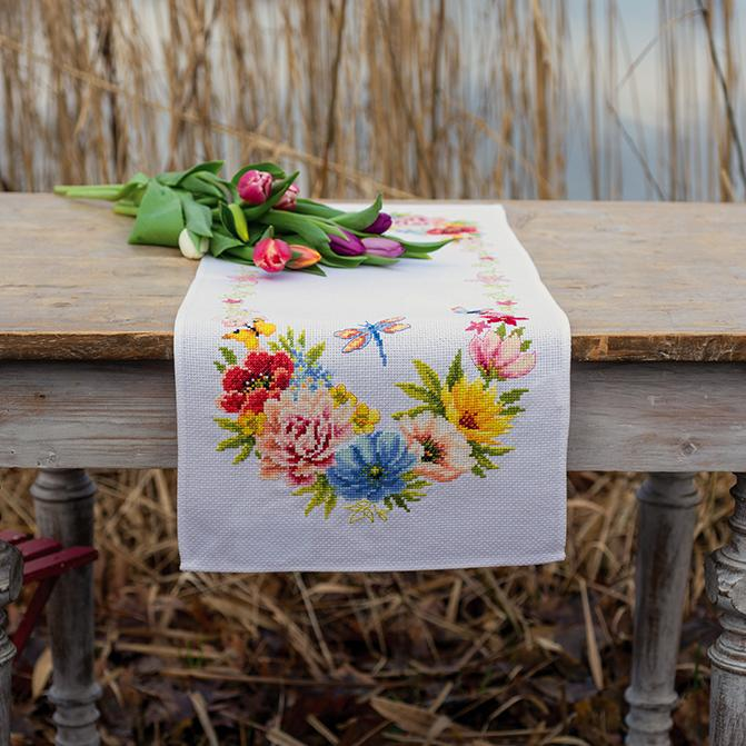 Vervaco - Colourful Flowers Table Runner Cross Stitch Kit - WOOLS OF NATIONS
