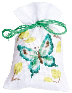 Vervaco - Green Birds & Butterfly Bags For Herbs Cross Stitch Kit (Set of 3) - WOOLS OF NATIONS