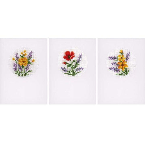 Vervaco - Greeting Cards Flowers & Lavender Cross Stitch Kit (Set of 3) - WOOLS OF NATIONS