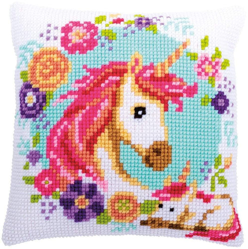 Vervaco - Mother & Baby Unicorn Cushion Cross Stitch Kit - WOOLS OF NATIONS