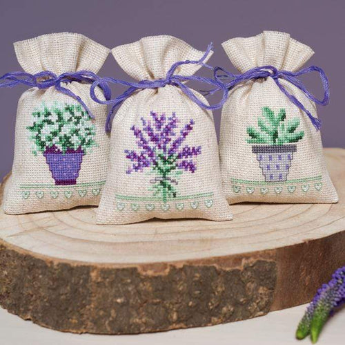Vervaco - Provence Bags For Herbs Cross Stitch Kit (Set of 3) - WOOLS OF NATIONS