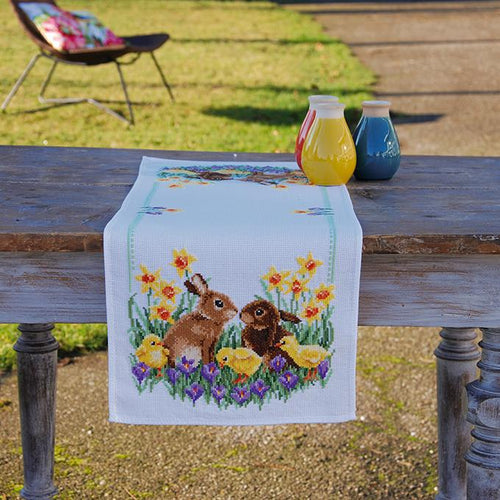 Vervaco - Rabbits With Chicks Table Runner Cross Stitch Kit - WOOLS OF NATIONS