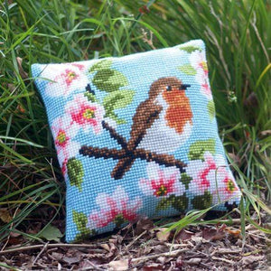 Vervaco - Robin & Blossoms Cushion Cross Stitch Kit - WOOLS OF NATIONS