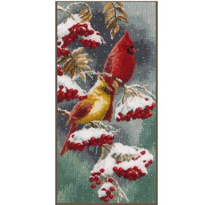 Vervaco- Scarlet & Snow-Cardinals Cross Stitch Kit - WOOLS OF NATIONS