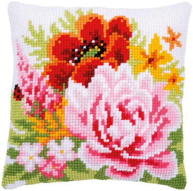 Vervaco - Summer Flowers Cushion Cross Stitch Kit - WOOLS OF NATIONS