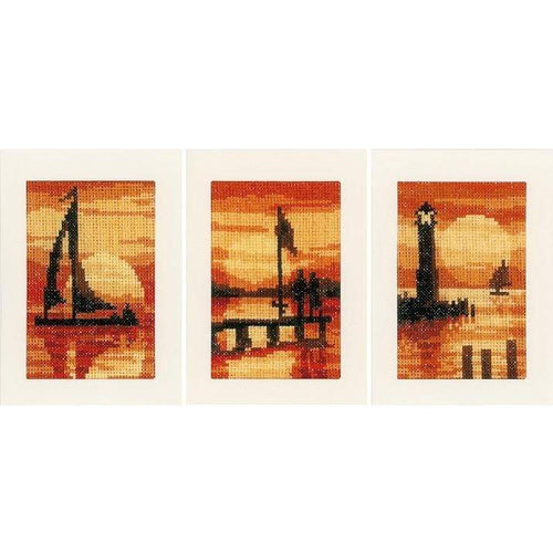 Vervaco - Greeting Cards Sunset Cross Stitch Kit (Set of 3) - WOOLS OF NATIONS
