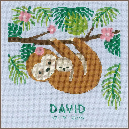 Vervaco - Sweet Sloth Cross Stitch Kit - WOOLS OF NATIONS