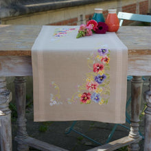 Load image into Gallery viewer, Vervaco - Violets Table Runner Cross Stitch Kit - WOOLS OF NATIONS