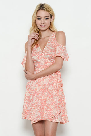 FLOWER PRINT OPEN SHOULDER DRESS