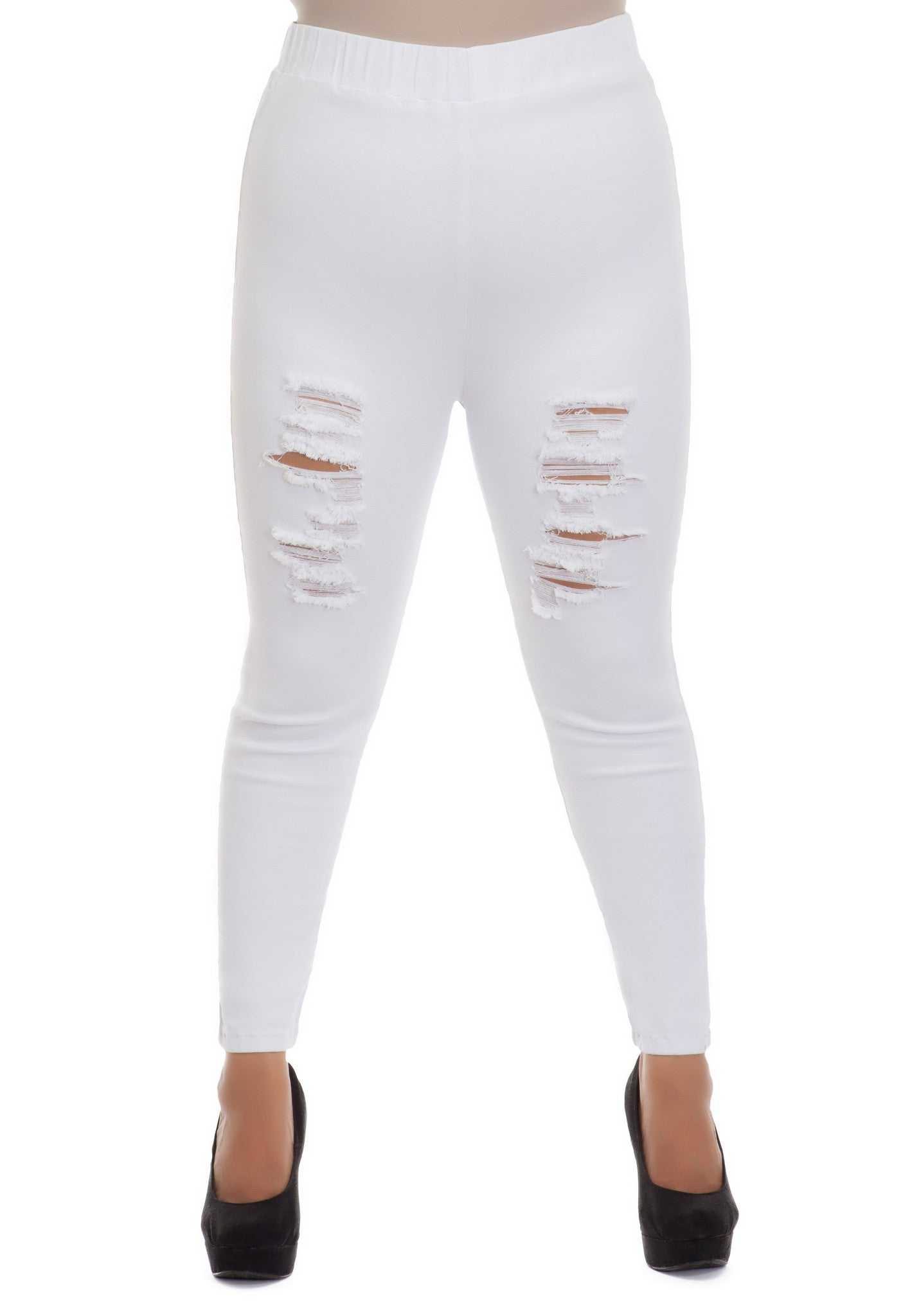 RIPPED WHITE STRETCH DENIM