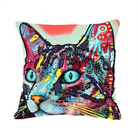 Printed Cat Pillow Cover Free + Shipping