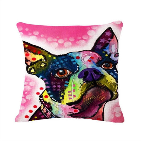 Printed Dog Pillow Cover