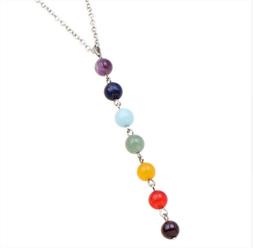 Chakra Gem Stone Beads Necklace Free + Shipping