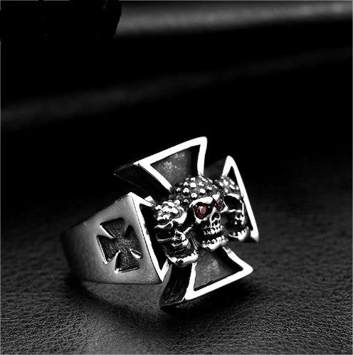 Titanium Steel Red Eye Cross Skull Ring