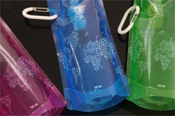 Eco-Friendly Folding 16oz Water Bottles - 4 Pack Free + Shipping