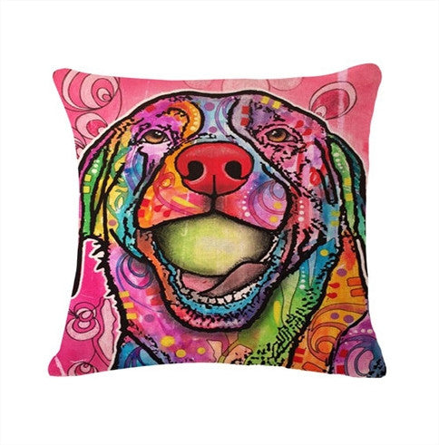 Printed Dog Pillow Cover Free + Shipping