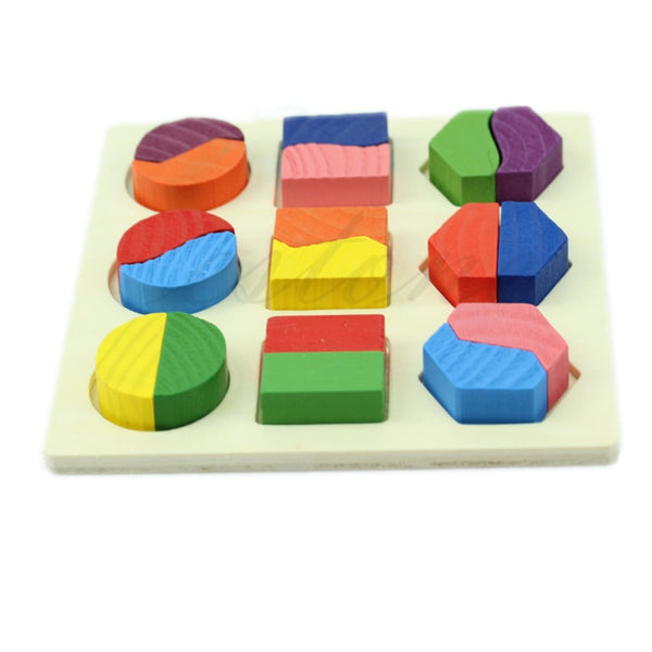 Wooden Geometric Puzzle For Toddlers Free + Shipping