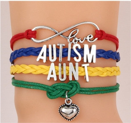 Love Autism Heart Charm Bracelet Free + Shipping