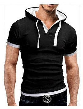 Slim Hooded Short Sleeved T-Shirt Free + Shipping