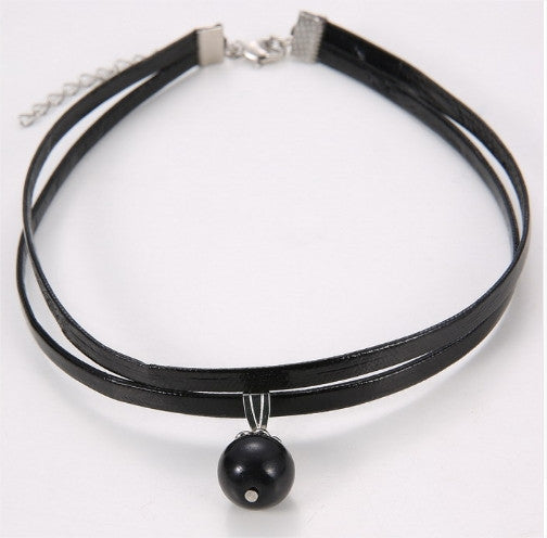 Double Layer Leather Choker Pendant Necklace Free + Shipping