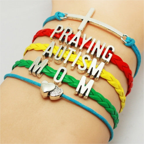 Cross Praying Autism Heart Charm Bracelet Free + Shipping