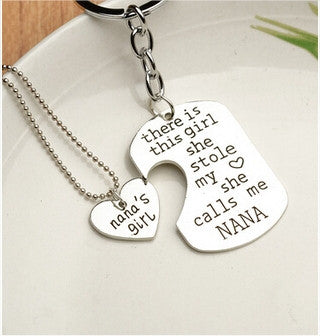 Love Pendant Necklace / Key Chain Set