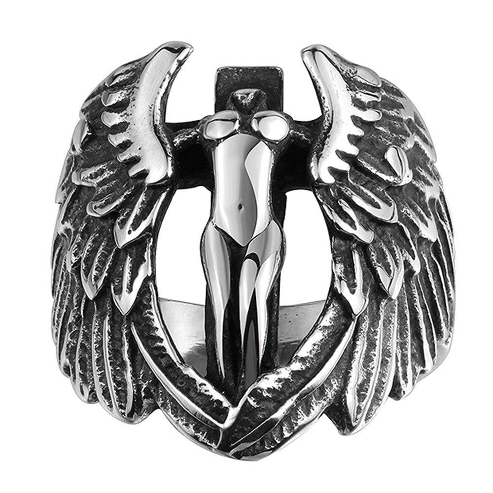 Stainless Steel Angel Wings Ring - 50% OFF
