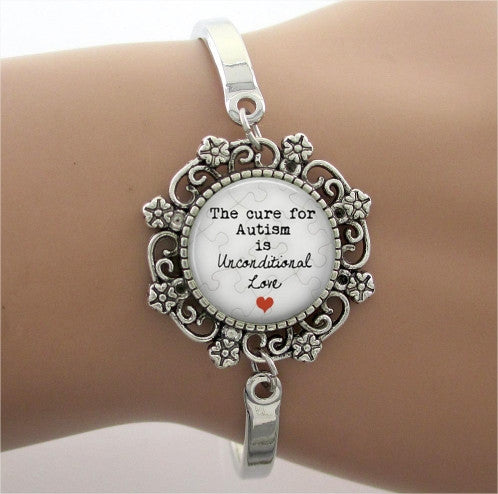 Unconditional Love Glass Dome Charm Bracelet