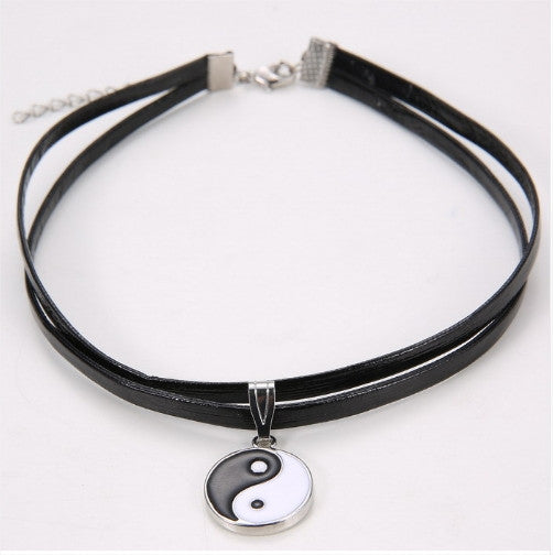 Double Layer Leather Choker Pendant Necklace