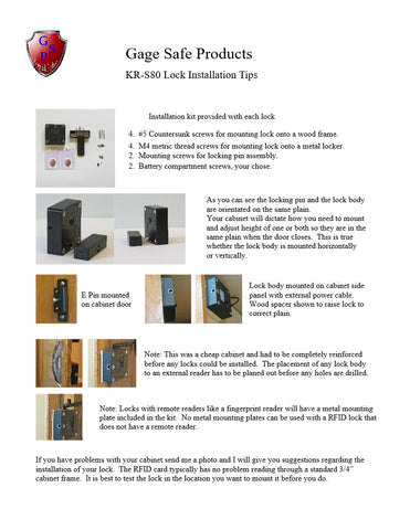Gage Safe Products KR-S80 Lock Installation Tips