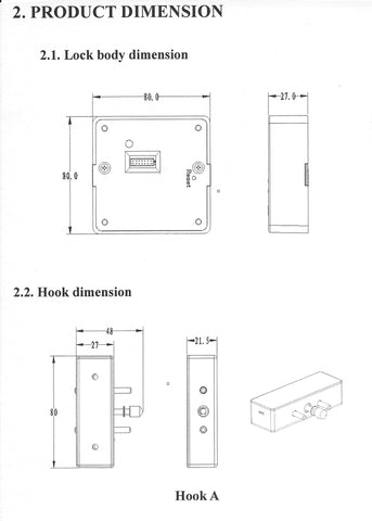 KR-S80 Lock Body and Hook Dimensions