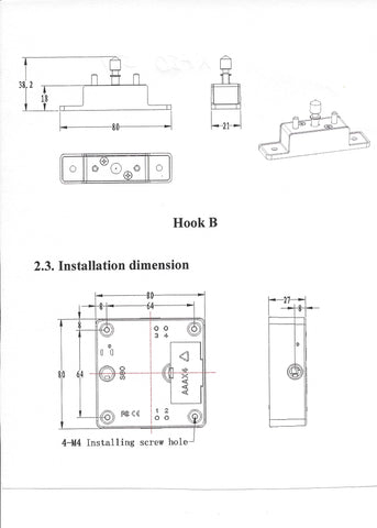 KR-S80 Lock Body Installation Dimentions