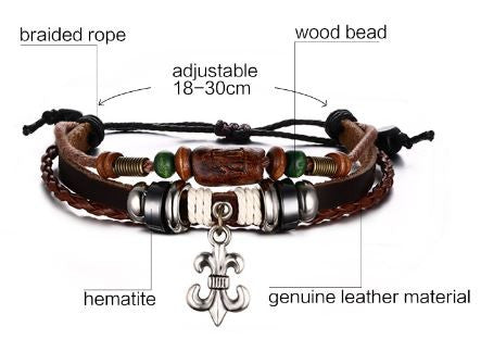 Adjustable Unisex Leather Bracelet