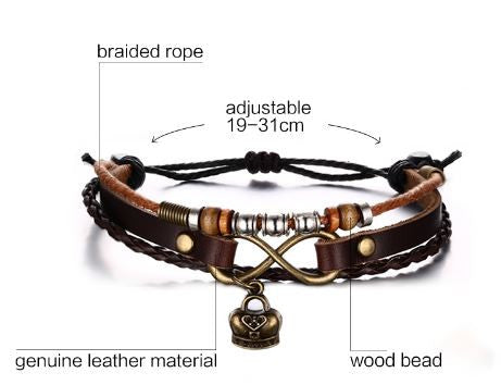 Adjustable Unisex Leather Bracelet FREE plus Shipping & Handling