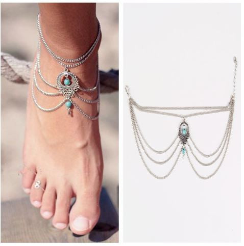 Turquoise Bohemian Anklet