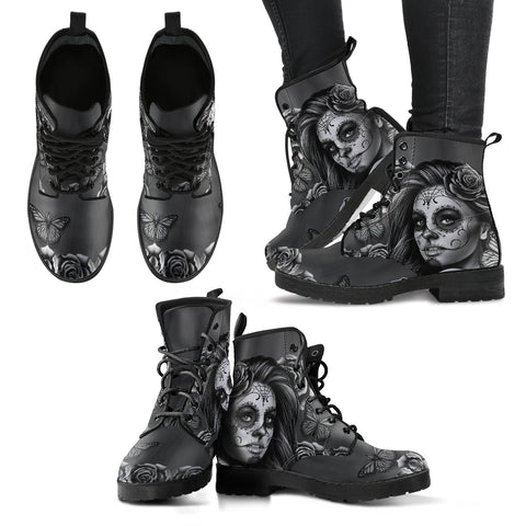 Tattoo Girl Leather Boots